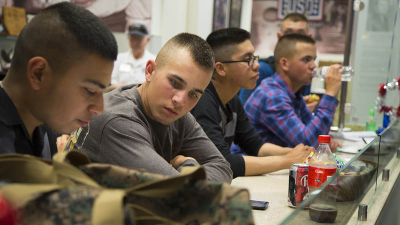 Marines packed the USO at Raleigh-Durham International Airport on March 9 as they waited for their rides to Camp Lejeune, North Carolina.