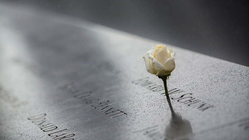 A rose is tucked into a name etched on the National September 11 Memorial in New York.
