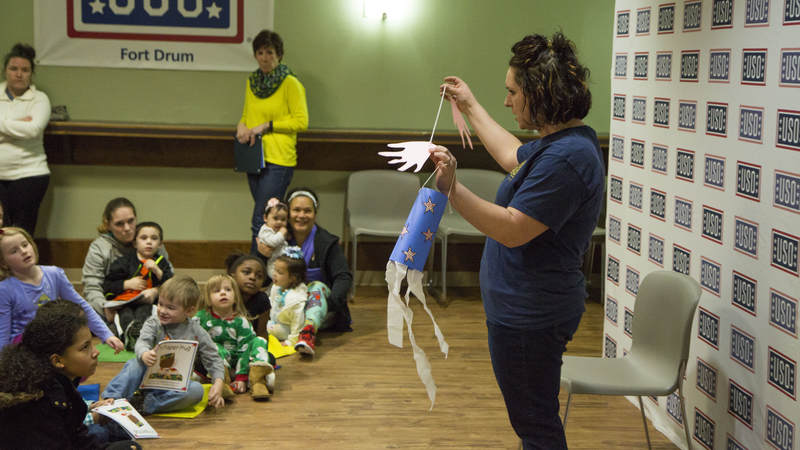 Dozens of military families turned out for USO Fort Drum's Storytime event April 11 in Fort Drum, New York.