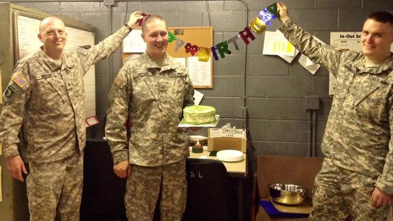 Soldiers celebrate a birthday at Camp Casey, South Korea