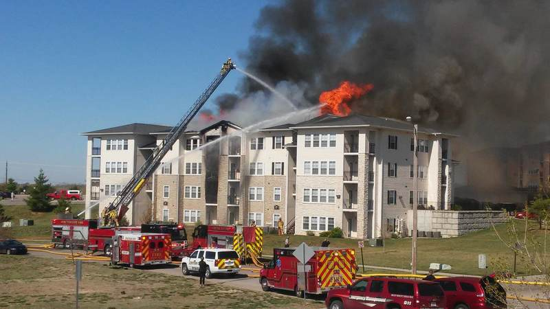 A fire destroyed a 36-unit apartment building in Junction City, Kansas, last month, leaving several military families temporarily homeless.