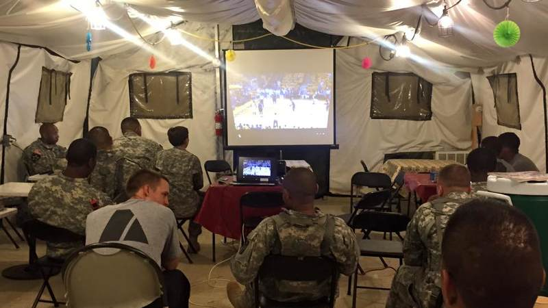 The USO center at Fort McCoy gives service members a chance to  relax and watch some TV.