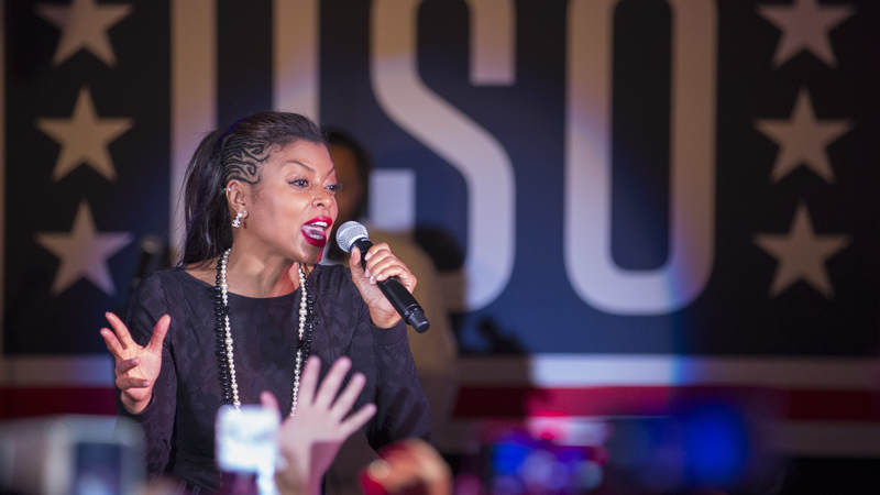 """Taraji P. Henson talks with the audience before introducing """"Empire"""" co-stars Jussie Smollett and Bryshere Y. Gray, who performed songs from the hit TV show at Misawa Air Base, Japan, in December."""
