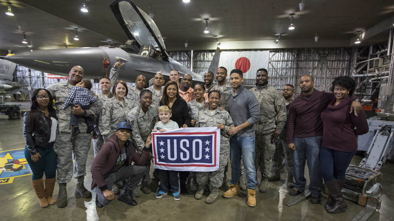 Jussie Smollett, Bryshere Gray and Taraji P. Henson visited service members and military families during a USO tour stop at Misawa Air Base, Japan, in December.