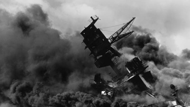 The USS Arizona (BB-39) burns after the Japanese attack on Pearl Harbor on Dec. 7, 1941.