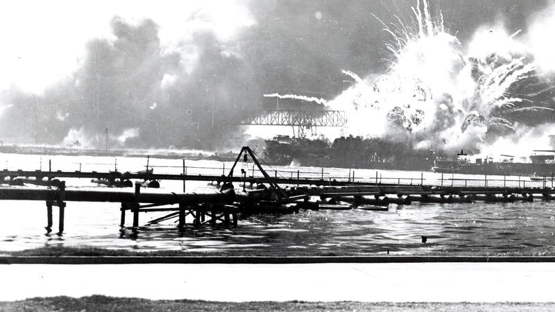 The USS Shaw explodes during the attack on Pearl Harbor.