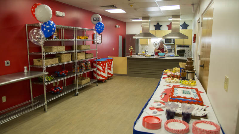 The demonstration kitchen at the new USO center on Joint Base San Antonio.