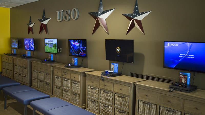 The new USO center on Joint Base San Antonio.