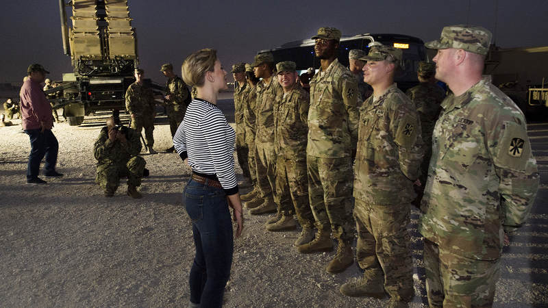 Scarlett Johansson visited service members in Turkey, Qatar, Afghanistan and Germany as part of the USO Chairman's Holiday Tour.