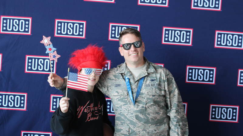 The USO, the NFL and the Houston Texans teamed up to host the Salute to Service BBQ at Ellington Field Joint Reserve Base on Jan. 31 near the site of Super Bowl LI. Thousands of service members and military families stationed near Houston enjoyed an afternoon of food, live music, games and prizes.