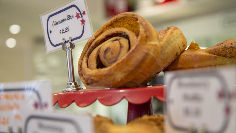 A cinnamon bun for sale at Dog Tag Bakery.