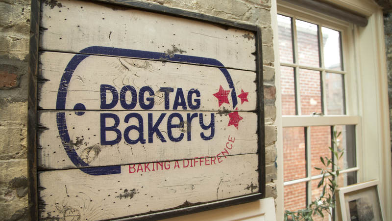 A Dog Tag Bakery sign.