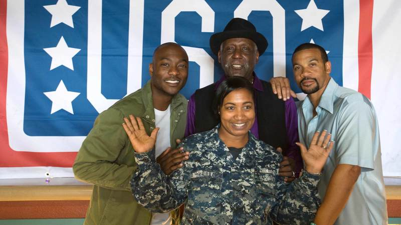 "The stars of of BET's ""Being Mary Jane"" on USO tour."