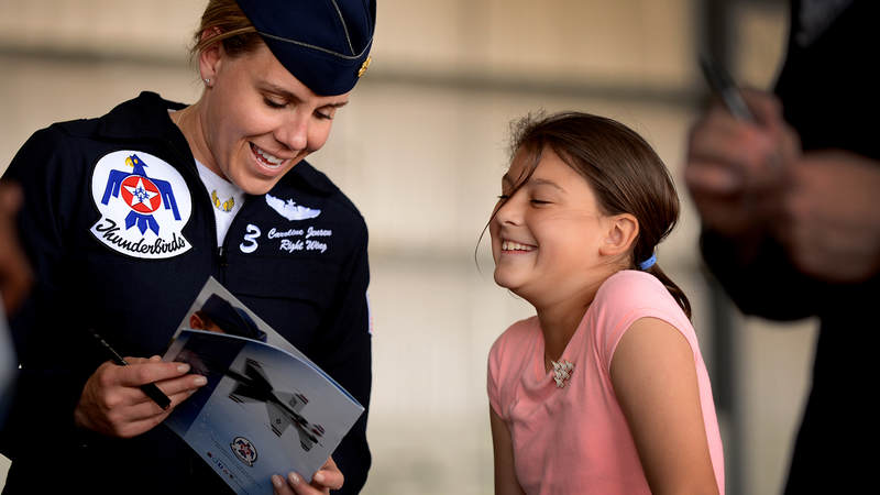 """Lt. Col. Caroline """"Blaze"""" Jensen in 2012 became the first female Air Force reservist named to the U.S. Air Force Air Demonstration Squadron – better known as the U.S. Air Force Thunderbirds."""