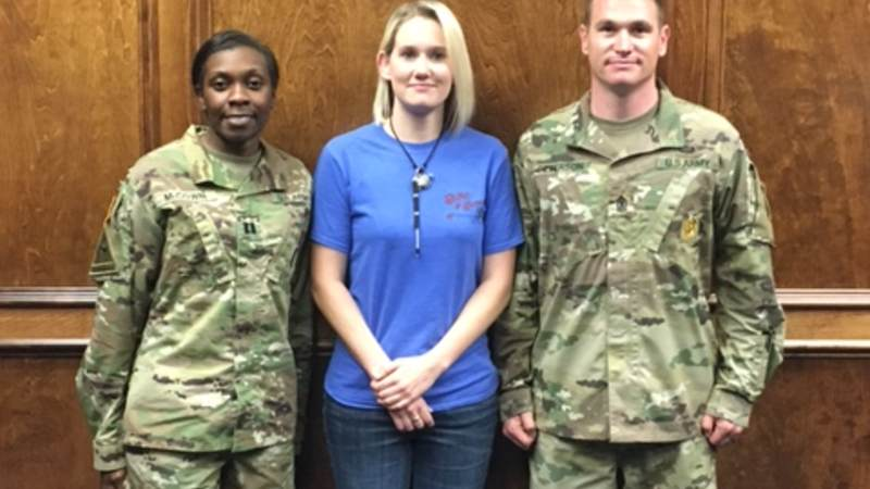 When Louisiana native Tammy Barnett, center, took the oath of enlistment on April 8, 2016, she became the first woman to enlist for an infantry job in the U.S. Army.