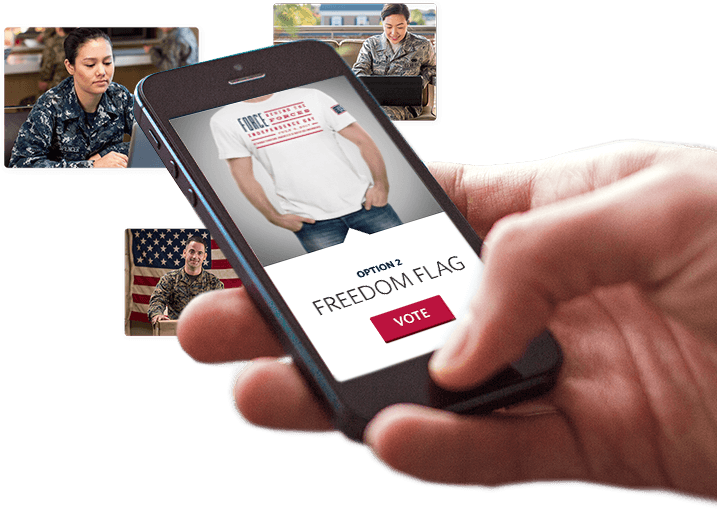 Hand holding Tshirt voting site on mobile phone