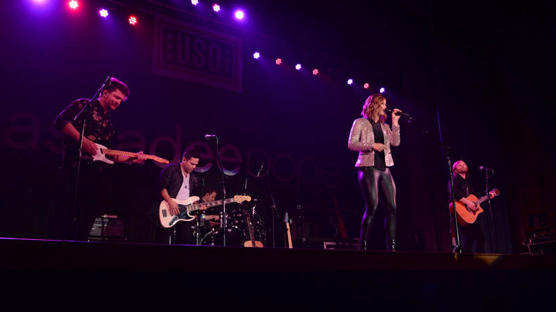 Cassadee Pope and her band perform during a USO show on April 8, at Eielson Air Force Base, Alaska.