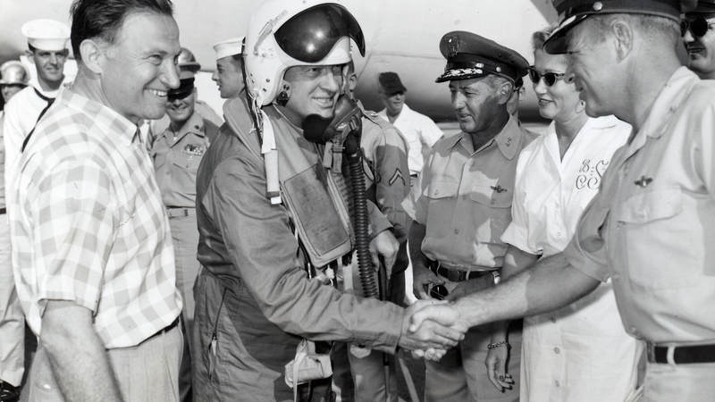 Bob Hope with service members in Guam on December 27, 1957.
