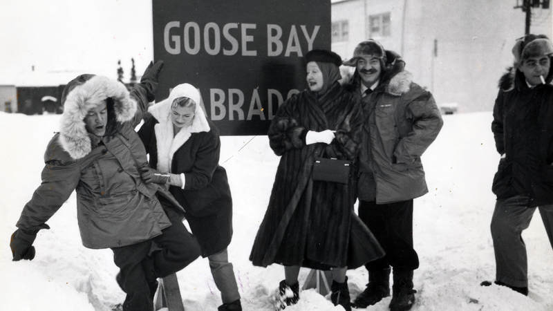Bob Hope at Goose Bay Air Force Base, Canada in 1955.