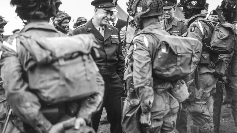 Gen. Dwight Eisenhower speaks to paratroopers of the 101st Airborne Division before the start of Operation Overlord.