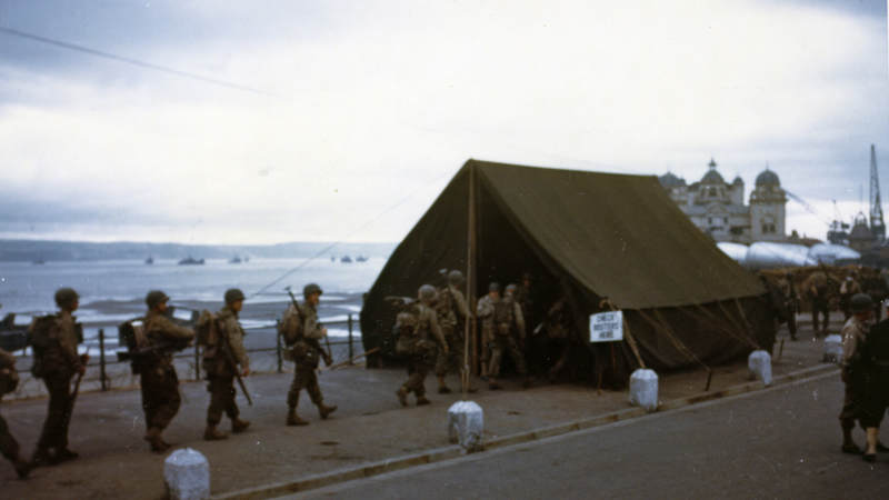 This is the last roll call for the men before they board landing craft for the big assault on the European continent.