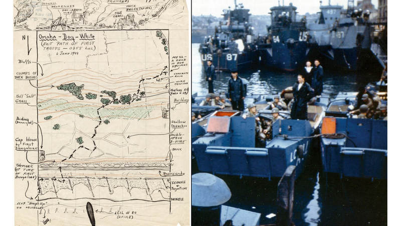 Left: A hand-drawn sketch of the exit path of first troops on Omaha Beach during D-Day operations. USS LCI(L) 84, a Coast Guard vessel that landed troops during the invasion and was damaged and later repaired, appears at the bottom of the map. Right: The USS LCI(L) 84, top center, is docked in England prior to D-Day.
