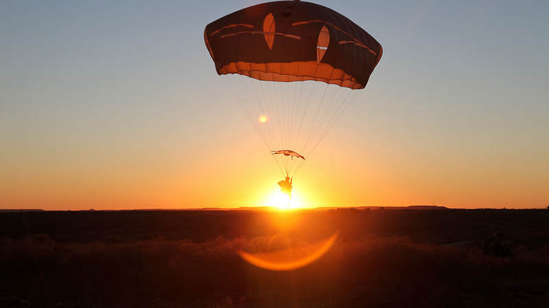 A paratrooper conducts an airborne operation at Fort Hood, Texas.