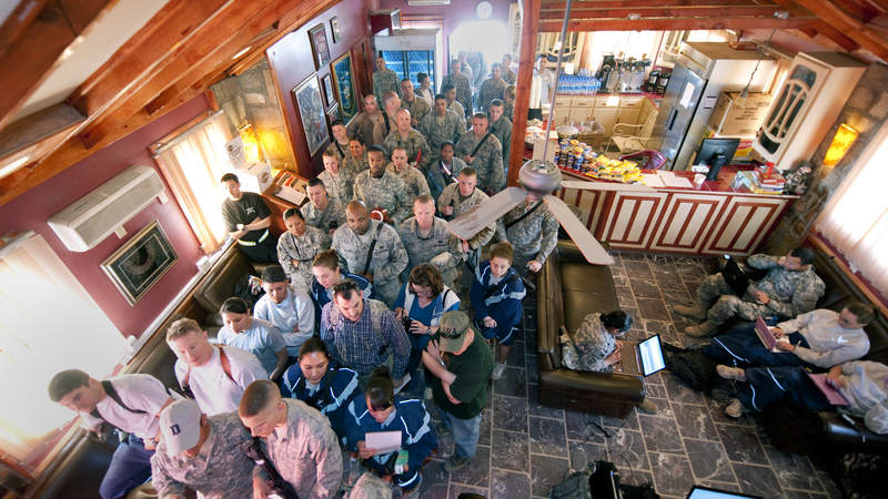 Nearly service members visited the USO's Pat Tillman Memorial Center to get autographs and have photographs taken with NFL players Jason Witten, Mario Williams, Joe Thomas and Vernon Davis in 2010.