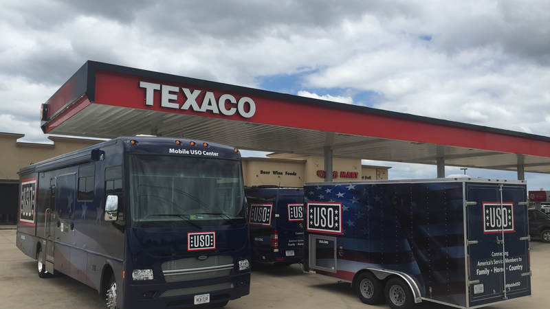 Mobile USO units gas up in preparation of supporting service members deployed to assist with the Harvey disaster response.