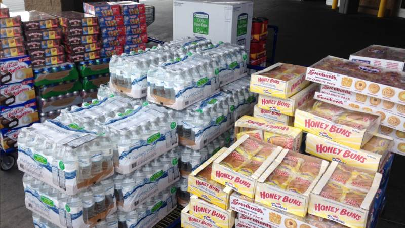Snacks sit ready to load into the USO El Paso Mobile unit, which will head to the Houston area to provide refreshments to service members supporting Harvey relief efforts.