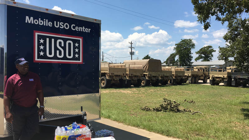 The USO Mobile unit at Fort Swift.