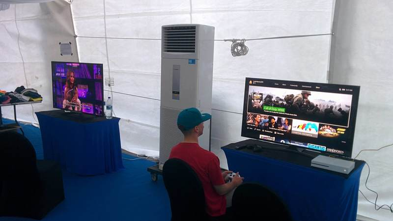 The USO has become the central gathering point for the crew of the McCain, and for good reason. It's the only place with cold AC and high-definition gaming!