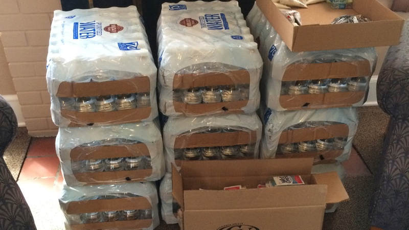 Water sits ready to be delivered to service members supporting Hurricane Irma relief efforts.