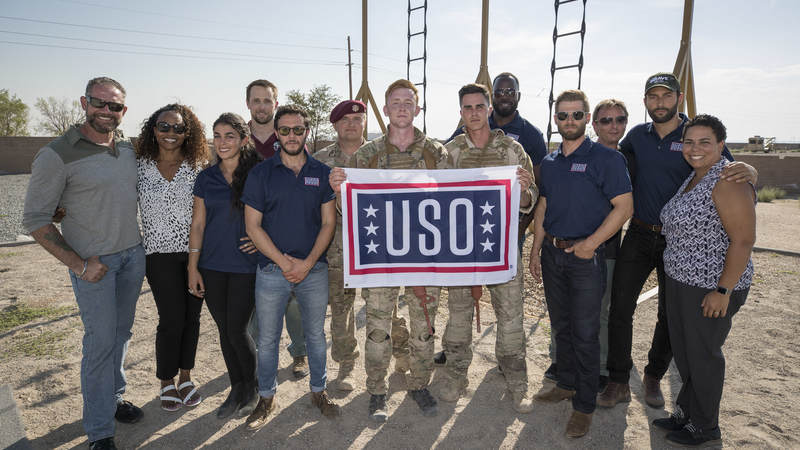"Actors Mike Vogel, Tate Ellington, Demetrius Grosse, Natacha Karam, Noah Mills, Sofia Pernas and Hadi Tabbal, stars of NBC's ""The Brave,"" teamed up with the USO and visited service members at Kirtland Air Force Base in New Mexico."
