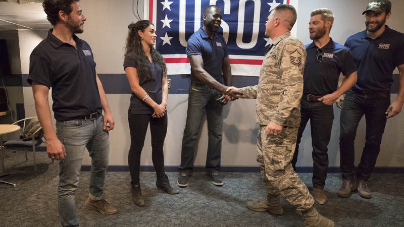 "The cast welcomed airmen and their families to an advance screening of NBC's ""The Brave"" and opened the floor to a USO Q&A, where each star expressed their heartfelt appreciation to America's armed forces and took time out to personally greet service members and military family members."