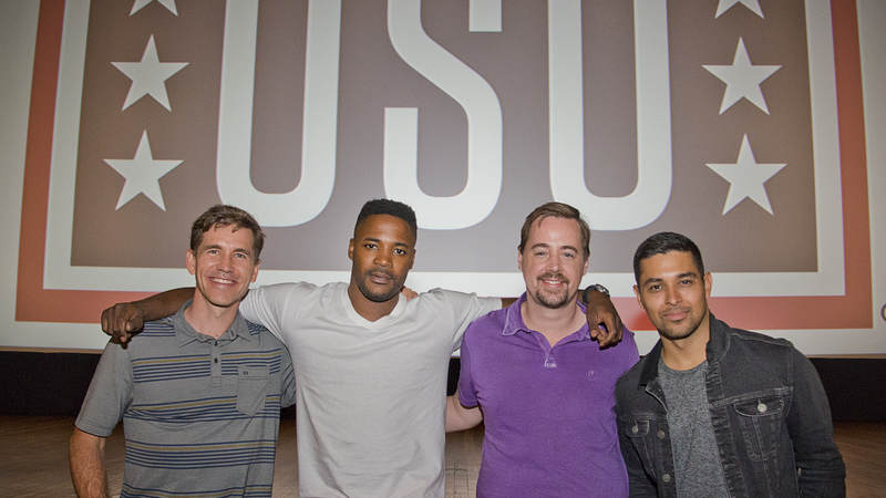 From left to right 'NCIS' stars Brian Dietzen, Duane Henry, Sean Murray and Wilmer Valderrama extended their thanks to Marines and their families during their USO tour to Marine Corps Air Station Miramar on Sept. 30.