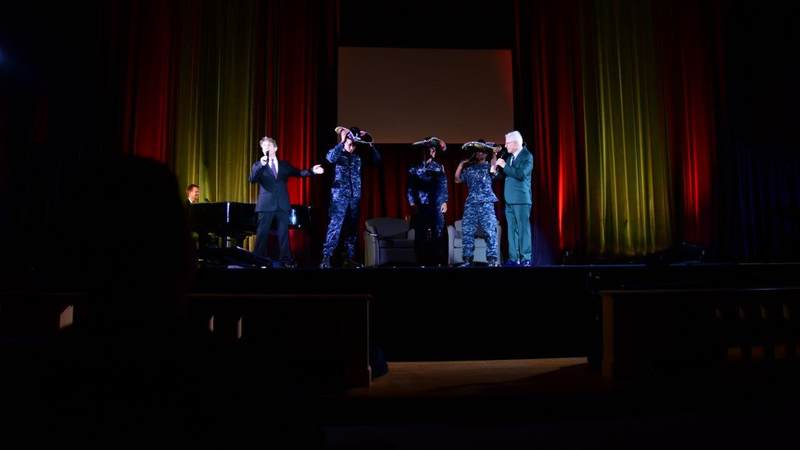 Comedy icons Steve Martin and Martin Short perform for service members during a USO tour to Naval Station Great Lakes, Ill., on Oct. 5.