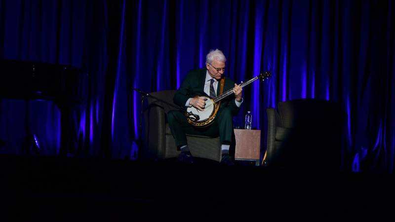 Steve Martin performs for service members during a USO tour to Naval Station Great Lakes, Ill., on Oct. 5.