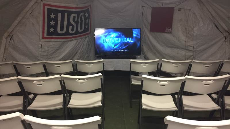 The USO expeditionary site in Aguadilla, Puerto Rico, has a lounge for service members so they can enjoy their limited down time.
