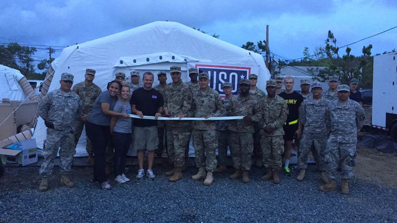 Service members helped the USO celebrate the opening of the expeditionary site in Ceiba, Puerto Rico.