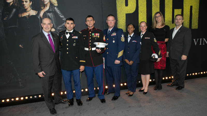 "The Marine Corps, Army, Air Force, Navy and Coast Guard were represented on the red carpet at the ""Pitch Perfect 3"" premiere in Los Angeles on Dec. 13."