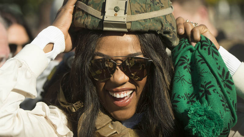 WWE Superstar Alicia Fox meets with Marines assigned to Special Purpose Marine Air-Ground Task Force – Crisis Response – Africa as part of a troop engagement during the Chairman's USO Holiday Tour at Morón Air Base, Spain, Dec. 21.