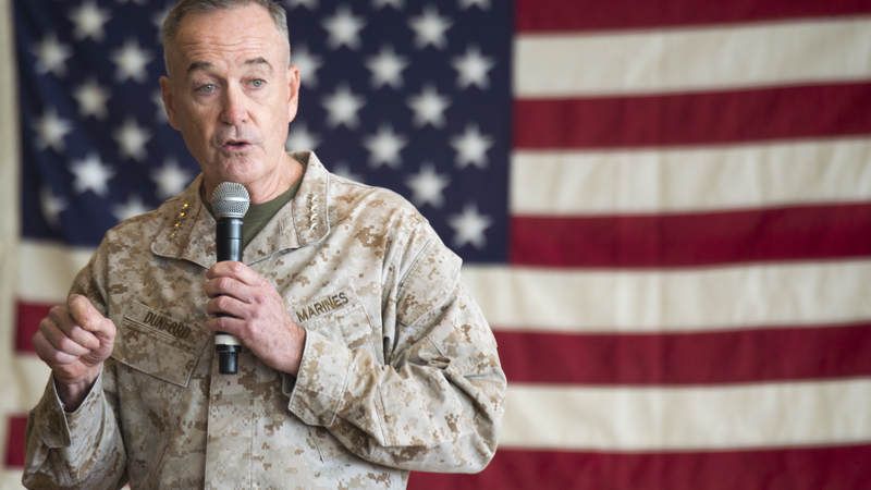 Marine Corps Gen. Joe Dunford, chairman of the Joint Chiefs of Staff, speaks to service members before the USO Holiday Tour at Operating Base Fenty, Afghanistan, Dec. 24.