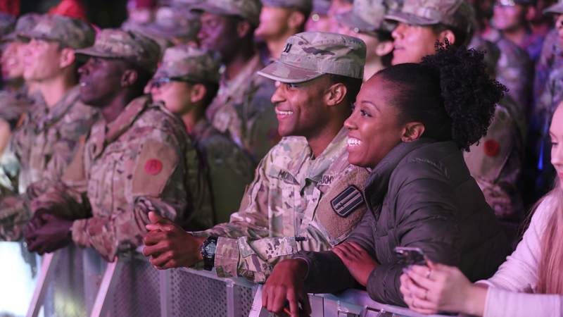 The Chainsmokers visited McCrady Training Center in South Carolina on Dec. 19 to get an up close look at military life, tour the USO center on base and perform a surprise concert for hundreds of future soldiers staying at nearby Fort Jackson for the holidays.