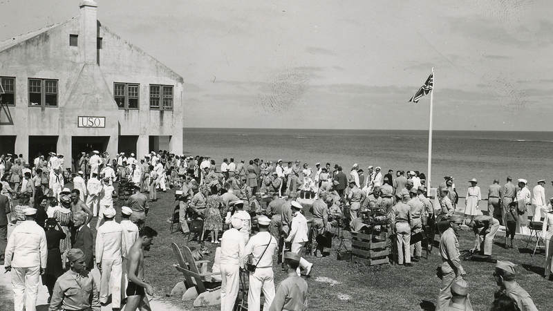 Service members outside of the USO center in Elbow Beach, Bermuda, in the early 1940s.