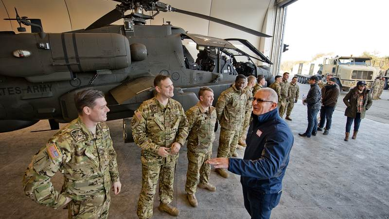 Irvine and the rest of the crew spend day 7 of the tour with service members in Poznan, Poland.