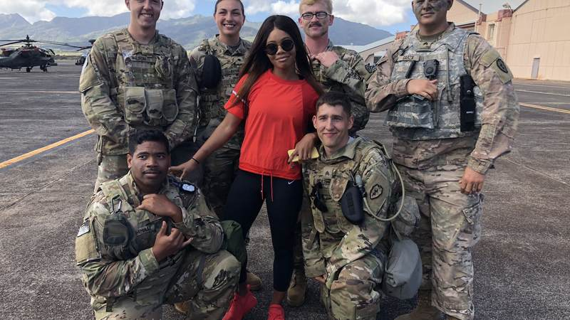 Three-time Olympic gold medal gymnast Gabby Douglas is a Force Behind the Forces after her recent USO tour to Guam and Hawaii in January.
