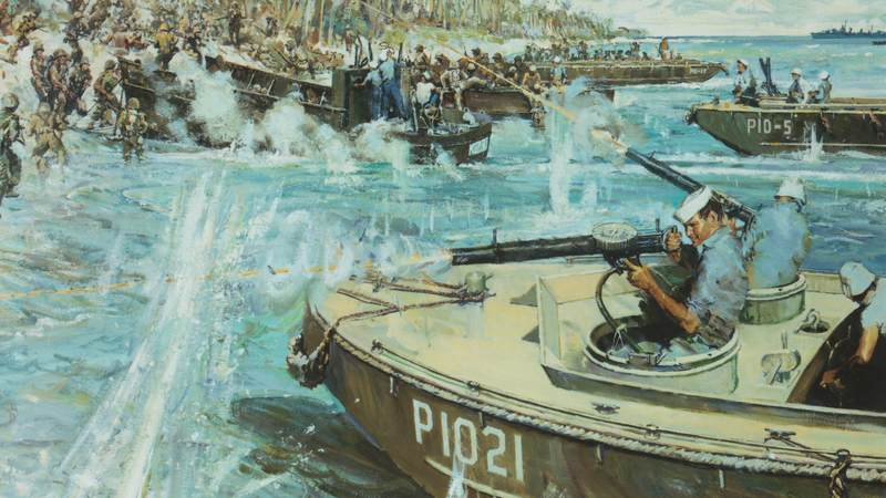 "This is the official Coast Guard painting of Munro's last moments while evacuating Marines at Guadalcanal. The painting's original title was ""Douglas A. Munro Covers the Withdrawal of the 7th Marines at Guadalcanal"" and was painted by artist Bernard D'Andrea for the Coast Guard Bicentennial Celebration."