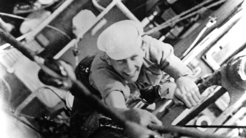 Signalman First Class Douglas A. Munro, shown above in a snapshot taken by a shipmate, gave his life while engaged in evacuating a Marine battalion.