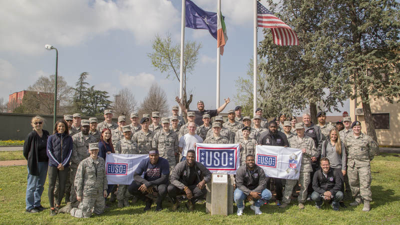 Ben Garland joined fellow NFL players Mario Addison, Mark Ingram, Carlos Dunlap, Latavius Murray and former head coach Rex Ryan on the 2018 USO-NFL tour of military bases in Italy and Germany.